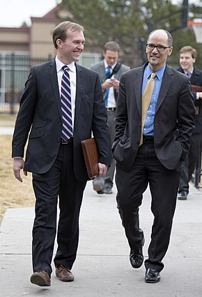 Salt Lake County Mayor Ben McAdams and U.S. Secretary of Labor Tom Perez visit Palmer Court, the Road Home's permanent supportive housing development, in Salt Lake City, Utah, on Friday, Jan. 30, 2015.