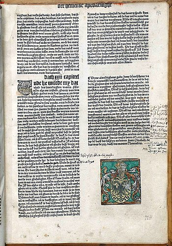 English: End page of the Lübeck Bible (1494), ...
