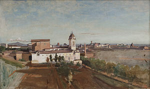 Jean-Baptiste-Camille Corot - La Trinité-des-Monts, seen from the Villa Medici, 1825–1828, oil on canvas. Paris: Musée du Louvre.