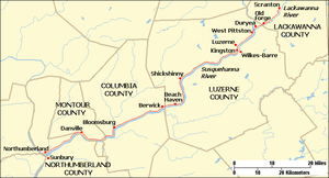Lackawanna and Bloomsburg Railroad - Map of the Lackawanna and Bloomsburg Railroad, showing counties and places mentioned in the article.