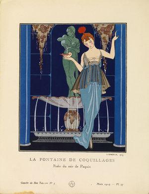 Gazette du Bon Ton - A George Barbier illustration of a Jeanne Paquin gown, published in the March 1914 Gazette