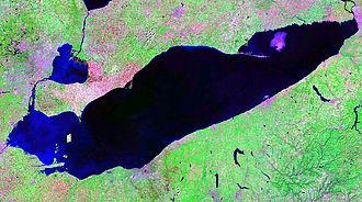 Lake Erie - False-color satellite image of Lake Erie in 2007