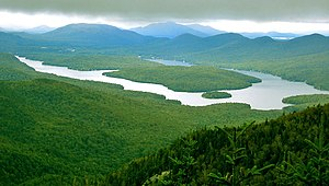 Lake Placid, from Whiteface Mountain; most of ...