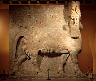 Sculpture - Assyrian lamassu gate guardian from Khorsabad, circa 800–721 BCE