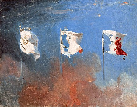 The white flag of the monarchy transformed into the Tricolore as a result of the July Revolution. Painting by Leon Cogniet (1830) Lar7 cogniet 001z.jpg