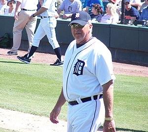 Toledo Mud Hens manager Larry Parrish coaching...