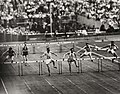 Larsson of Sweden wins 400 meters hurdles Olympic heat, London, 1948. (7649948238).jpg