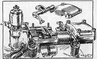 Mercedes D.III - Details of the later pattern SOHC Mercedes D.III valvetrain, using the relocated rocker box design, with rotary shafts to operate the fully exposed roller rocker arms.