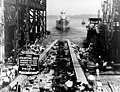 Launch of USS Albany (CA-123) at the Fore River Shipyard, Quincy, Massachusetts (USA), on 30 June 1945.jpg