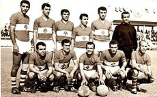Eleven Lebanese football players posing for a photo prior to a football match