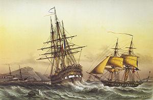 French ship Duquesne (1847) - Image: Lebreton engraving 17