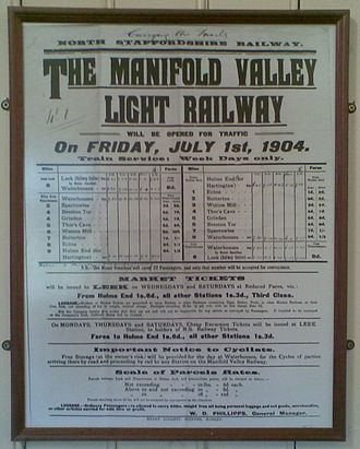 Leek and Manifold Valley Light Railway - A timetable poster of 1904, now framed in the old station at Hulme End