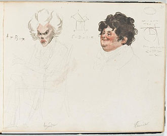Joseph Fourier - 1820 watercolor caricatures of French mathematicians Adrien-Marie Legendre (left) and  Joseph Fourier (right) by French artist Julien-Leopold Boilly, watercolor portrait numbers 29 and 30 of Album de 73 Portraits-Charge Aquarelle's des Membres de I'Institute.