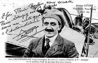 Léon Letort - Léon Letort and his Morane-Saulnier monoplane in 1913, crediting Automobiline Oil for 2 trips to Berlin and one to Danzig