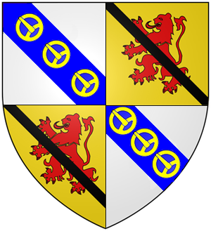 Clan Leslie - Arms of James, Earl of Rothes, Chief of Clan Leslie: Quarterly 1st and 4th Argent, on a bend azure  three buckles or (Leslie) 2nd and 3rd Or, a lion rampant gules over all a ribbon sable (Abernethy)