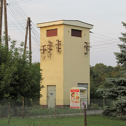 15 kV/400 V distribution tower in Poland Lesna-Podlaska-trafo-180902.jpg
