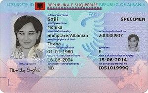 Albanian Identity Card - Image: Leternjoftimi shqiptar biometrik.