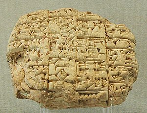 Cuneiform script - Letter sent by the high-priest Luenna to the king of Lagash (maybe Urukagina), informing him of his son's death in combat, Girsu c. 2400 BC