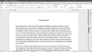 LibreOffice - Screenshot of Libreoffice 5.3 Writer using the MUFFIN interface running on Ubuntu 16.04
