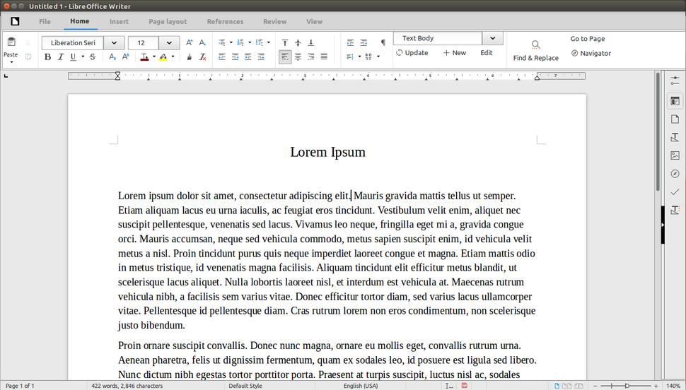 Libreoffice 5.3 writer MUFFIN interface