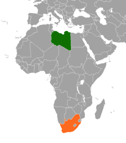 Map indicating locations of Libya and South Africa