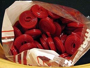 Liquorice (confectionery) - Red liquorice wheels