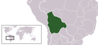 A map showing the location of Bolivia