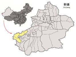 Location of Kizilsu Prefecture within Xinjiang (China).png