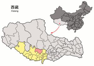 Xaitongmoin County - Image: Location of Xaitongmoin within Xizang (China)