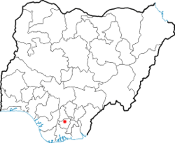 Map of Nigeria showing the location of Owerri in Nigeria.