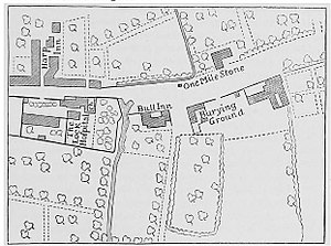 River Neckinger - 19th century map showing the Lock Stream (between the Lock Hospital and Bull Inn) going under the Old Kent Road then reappearing as a channel on the other side.