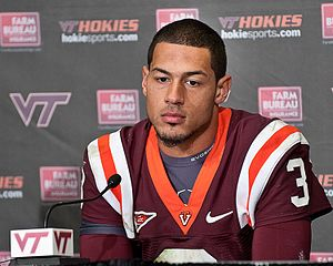 Logan Thomas of Virginia Tech following his te...