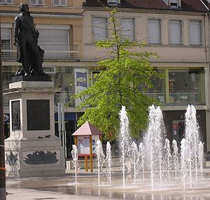 Lons-le-Saunier - Place de la Liberté with the statue of Claude Lecourbe
