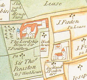 Sir Thomas Penyston, 1st Baronet - An early map showing Sir Thomas Penistone's occupation of Bruce Castle (then called Lordship House)