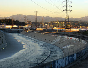 River engineering - The Los Angeles River is extensively channelized with concrete embankments.