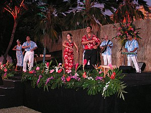 Luau - Dancers and musicians at a commercial lūʻau