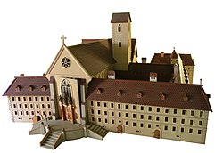 Model of the monastery church and some other monastery buildings