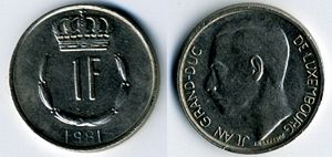 Luxembourgish franc - Image: Lux Franc