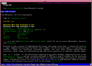 Lynx (web browser) text-based cross-platform web browser