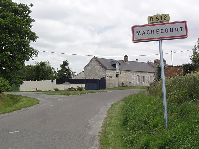 Mâchecourt (Aisne) city limit sign