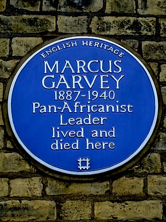 Marcus Garvey - Blue plaque at 53 Talgarth Road installed in 2005