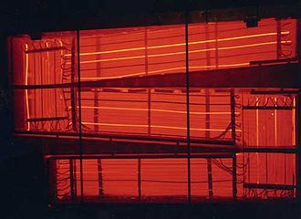 Molten-Salt Reactor Experiment - MSRE air-cooled heat exchanger glowing a dull red due to high temperature.