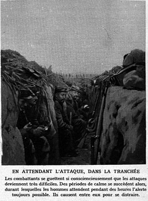 "First Battle of Champagne - ""Waiting for the attack, in the trench."""