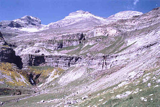 Louis Ramond de Carbonnières - Cilindro de Marboré (3,328 m), Monte Perdido (3,355 m) and Soum de Ramond (3,263 m) (left to right)