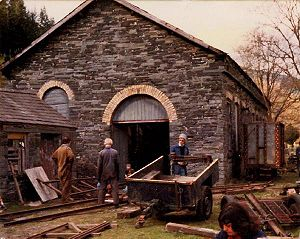 Corris Railway - Maespoeth Junction locomotive shed during early 1980s restoration work.