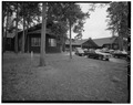 Main entrance, view northeast - Lake Lodge, Southwest of Lake Junction, Lake, Teton County, WY HABS WYO,20-LAK,2A-1.tif