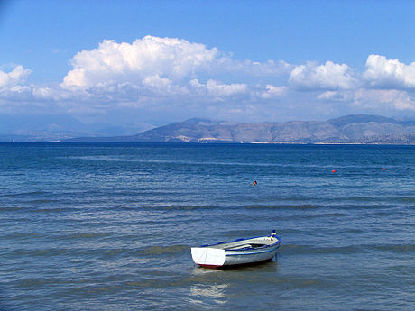 The Ionian Sea, as seen from Corfu Island, Greece, and with Saranda, Albania in the background Mainland seen from Corfu.jpg