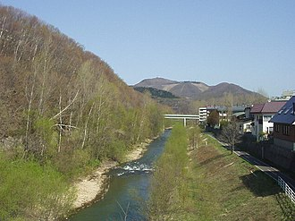Makomanai River - View northward from the Makomanai Green Heights Bridge in Minami ward, Sapporo. (May 2004)