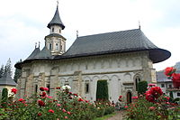 A church in a rose garden