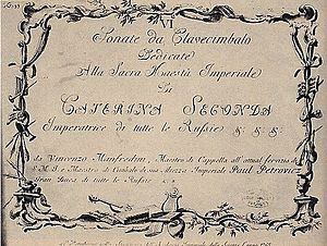 Vincenzo Manfredini - Vincenzo Manfredini: Harpsichord Sonata Cover, Edition of 1765.